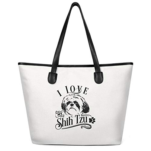 I Love My Shih Tzu Dog Lover Woman Canvas Tote Handbags Bag Funny For Books Shoulder Bag