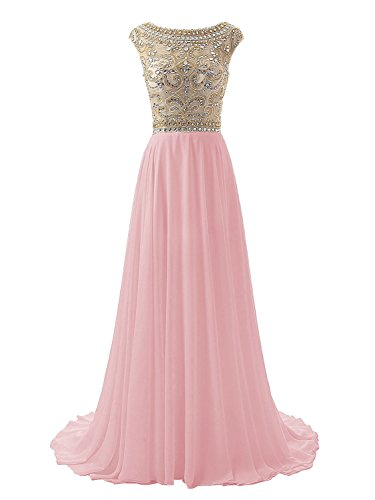 2008 Prom Dress Gown - Wedtrend Women's Floor Length Bridesmaid Beaded Bodice Prom Evening Dress WT10169Blush26W
