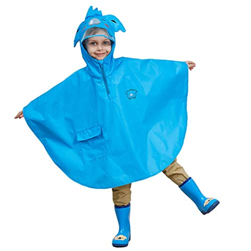 Children Raincoat, Kids Ponchos Waterproof Hooded Outwear Rain Resistant,Blue