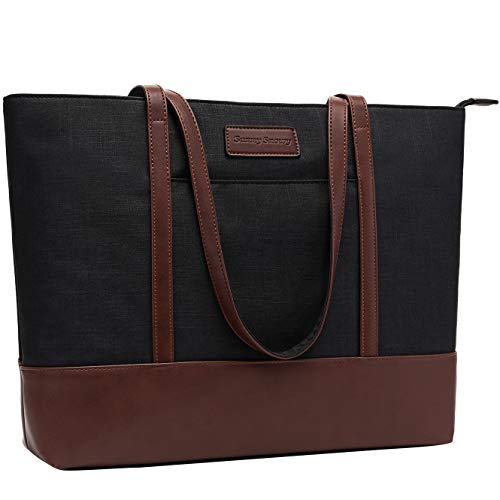 (15.6 Laptop Bag for Women,Lightweight Water Resistant Large Nylon Laptop Tote Bag,Black)