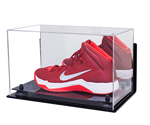 Deluxe Acrylic Large Shoe Display Case for Basketball Shoes Soccer Cleats Football Cleats with Black Risers Mirror and Wall Mount (A013-BR)