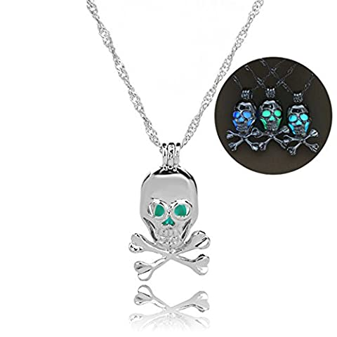 ShungHO Luminous Necklace Halloween Luminous Skeleton Skull Head Necklace Glowing in Dark,White K + Sky - Dark Sky Chain
