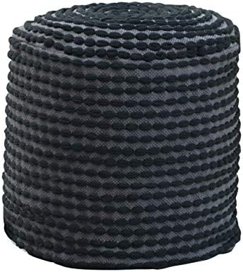 Great Deal Furniture Collier Outdoor Handcrafted Modern Water-Resistant Fabric Cylinder Pouf Ottoman