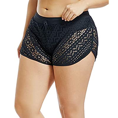Urchics Womens Lace Hollow Out Swimsuit Tankini Bottom Swim Board Shorts(S-XXXL) at Women's Clothing store