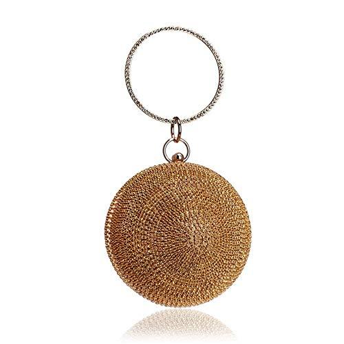 maniglia forma donna Borsa lusso borsa Clutche palla di rotonda giallo regalo frizione intarsiati diamanti sera anello spalla da brillante donna imitazione wzTzq8f