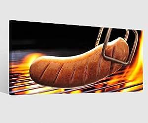 Foto en Lienzo Comida Cocina Salchicha Parrilla Alimentación Fuego Imagen Imágenes Lienzo Mural Madera Cuadros en Lienzo Del Fabricante 9W890-60x30cm