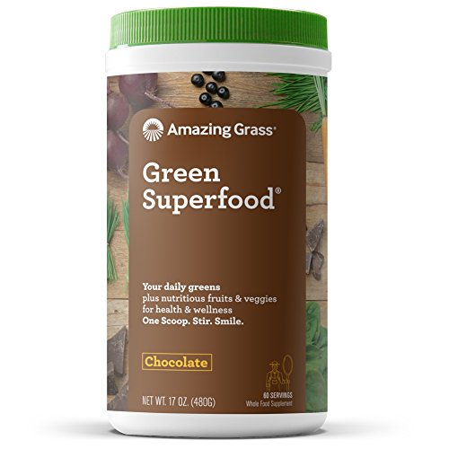 Amazing Grass Green Superfood Organic Powder with Wheat Grass and 7 Super Greens, Flavor: Chocolate, 60 Servings, 1 scoop = 2 servings of veggies