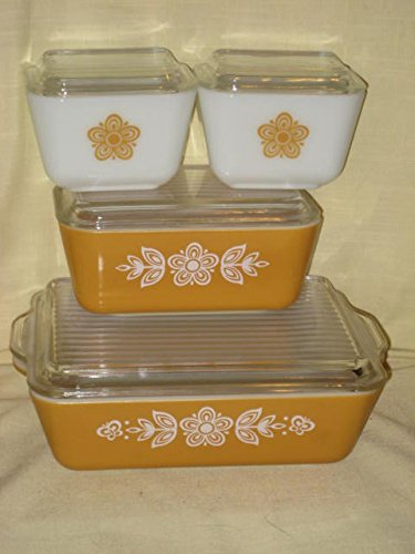 (8 PIECE SET - Vintage Glass BUTTERFLY GOLD Refrigerator Food Dishes Containers w/ Clear Lids - (2) 1 1/2 Cups, (1) 1 1/2 Pint & (1) 1 1/2 Quart - Made In USA)