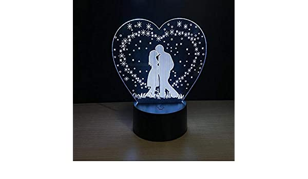 Heart-shaped Couple 3d Colorful Visual Lamp Touch Led ...