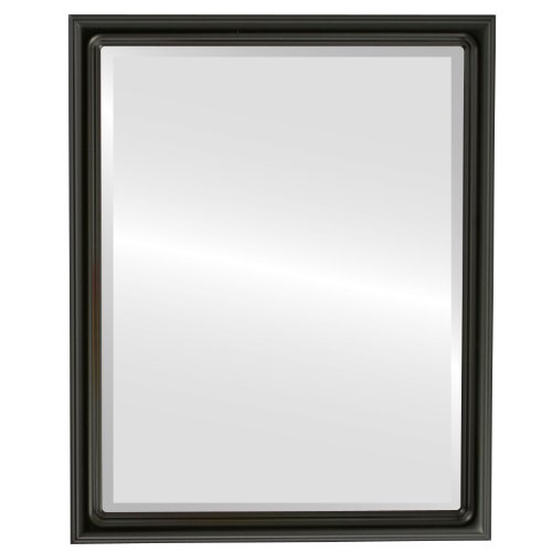 Rectangle Beveled Wall Mirror for Home Decor - Saratoga Style - Matte Black - 22x26 outside dimensions