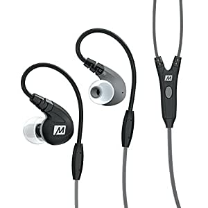 MEE audio M7P Secure-Fit Sports In-Ear Headphones with Mic, Remote, and Universal Volume Control(Black)