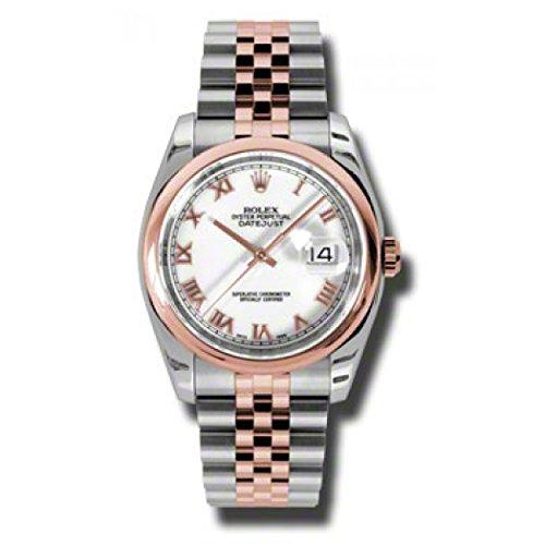 (Rolex Datejust White Roman Dial Jubilee Bracelet Two Tone Mens Watch 116201WRJ)