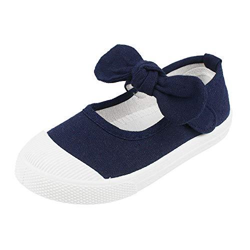 (Girls' School Uniform Dress Shoe Kids Canvas Bowknot Mary Jane Flat Sneakers, Navy 8)