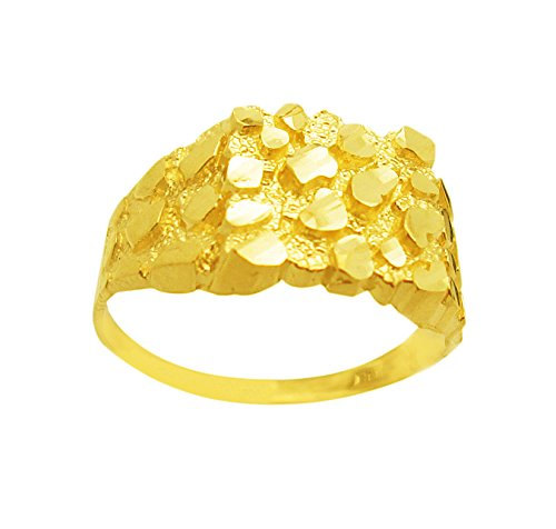 AMZ Jewelry Men's 10K Gold Nugget Ring 10k Gold Nugget Ring