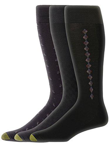 - Gold Toe Men's 2056H 3-pk Fashion Dress Sock, Black, Sock Size: 10-13/Shoe Size:9-11