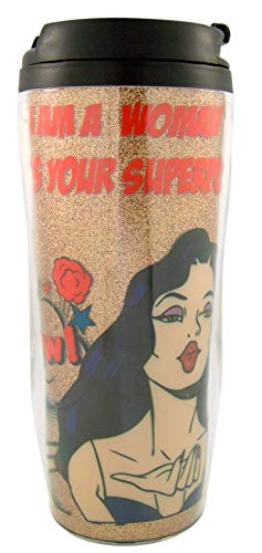 Myxx I am a Woman, What's Your Superpower Glittery Gold-Toned Feminist Travel Mug Gift, 7 Inches -