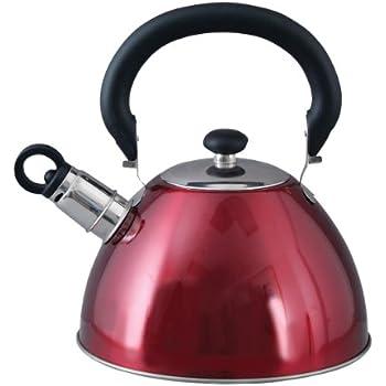 Mr. Coffee Morbern Stainless Steel Whistling Tea Kettle, 1.8-Quart, Red