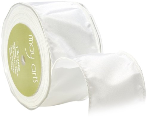 May Arts 3-Inch Wide Ribbon, White Taffeta