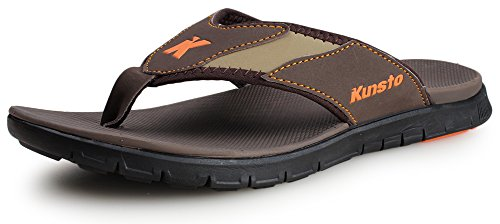 Kunsto Men's Nubuck Leather Flip Flop Sandal US Size 7.5 Brown/Black (Multi Brown Suede Footwear)