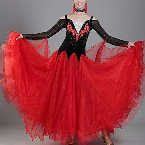 Bal Standard Grand La Valse De Lisse Danse Wqwlf Robes Swing Femmes Concurrence Robe Tango Red Moderne xl Salle WvqPW0w61