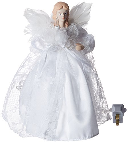 Kurt Adler 10-Light 9-Inch White Angel Treetop (Kurt Adler Angel Tree Topper)