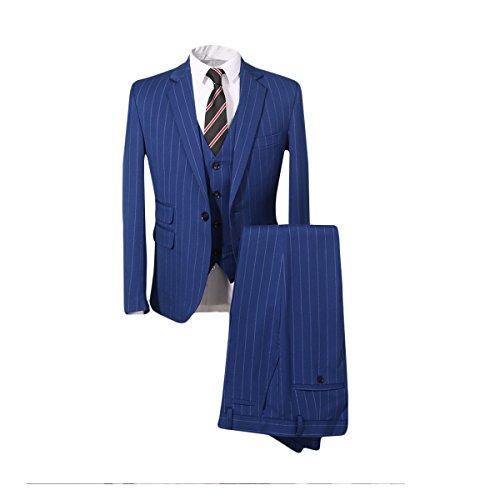 Men's Modern Vertical Stripe 3-Piece Suit Slim-Fit Elegant Tuxedo - Suit Blues Brothers