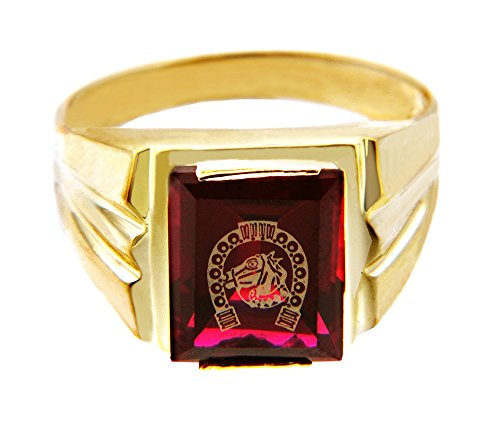 Men's 14k Yellow Gold Red Garnet CZ Stone Horseshoe with Horse Head Ring (Size 8)