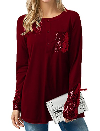 Bbalizko Womens Tops Loose Long Sleeve Sparkle Sequins Cuff Patchwork Casual Tunic Shirts