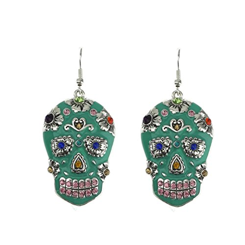 Handpainted Chunky Sugar Skull Day of the Dead Dangle French Hook Earrings (Turquoise French Hook Earrings)