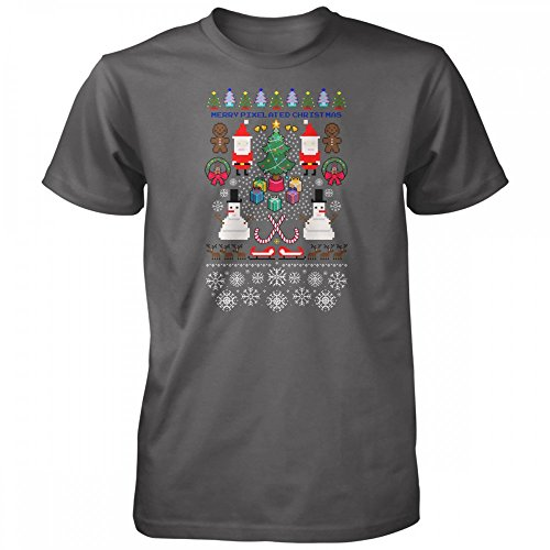 Vine Fresh Tees - Merry Pixelated Christmas Ugly Sweater T-Shirt - X-Large, Heavy Metal