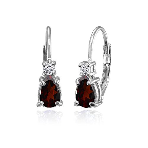 Sterling Silver Garnet and White Topaz Tiny Teardrop Huggie Leverback Earrings for Girls - Earrings Shaped Garnet Pear