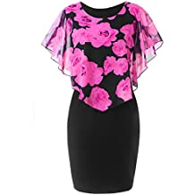 Han Shi-Dress Ruffles Mini Dress,Han Shi Fashion Womens Plus Size Rose Print Casual Shirts Skirts