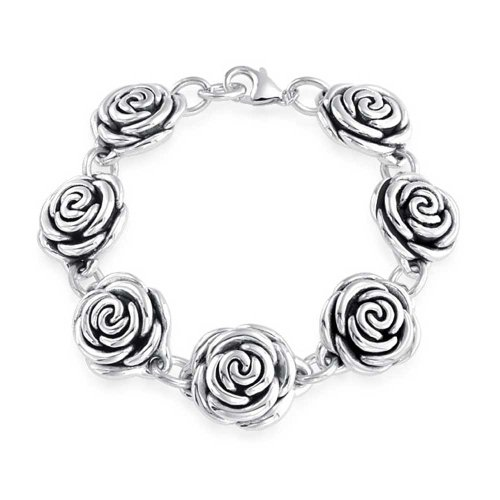 (Black Antiqued Finish Roses Flowers Bracelet For Women For Girlfriend Hollow 925 Sterling Silver 7.5 Inch)