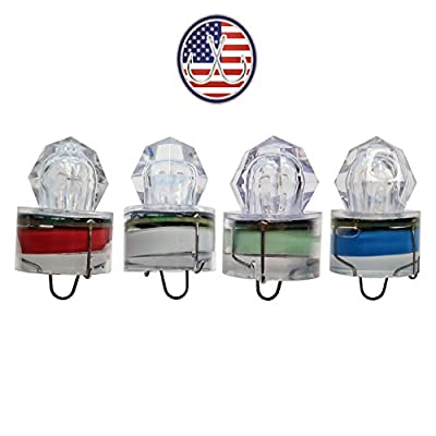 Deep Drop LED Fishing Lights-Water Activated Flashing Strobe Lights-Rated up to (3,280ft)-Diamond-Pack of 4 (1 Red, 1 White, 1 Blue, 1 Green)-Salt & Fresh Water Fishing