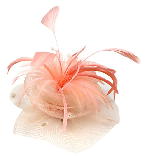 Womens Fascinator Hat Feather Mesh Flower Shape with Hair Clip