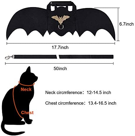 Cat Bat Costume,Halloween Cat Bat Wings for Pets,Cat Halloween Collar Pet Apparel for Small Dogs and Cats,Comfort Material Pet Costume for Halloween (Cat Bat Costume) 20