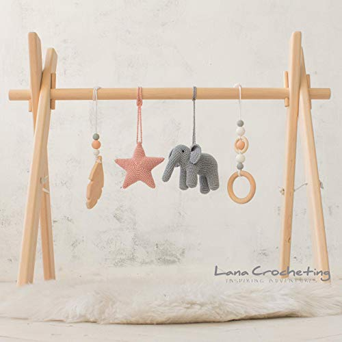 - Elephant Artisan Wood Baby Gym frame with Four Mobiles by LanaCrocheting. Montessori. Grey nursery. Infant Activity gym. Wooden Foldable Baby Play Gym, Hanging bar, natural