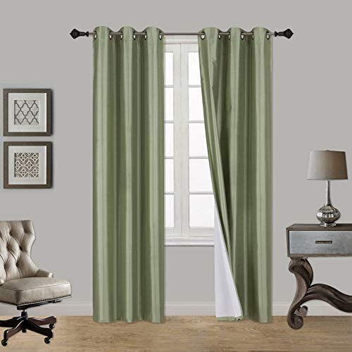 Faux Silk Room Darkening Curtains 2 Panel Sets Of 54x63 Room Darkening Light Filtering Curtains For Bedroom Durable Thermal Insulated Sun And Sound Blocking Dark Window Curtain 1ps 63 Sage Home Kitchen