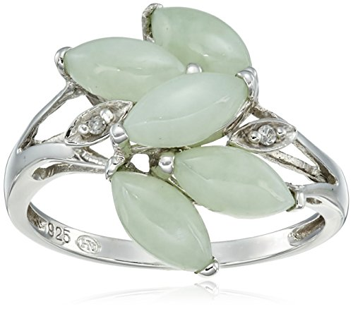 - Sterling Silver Genuine Green Jade and Diamond Accent Leaves Ring, Size 7
