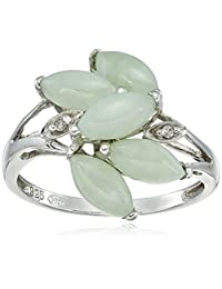 Sterling Silver Green Jade and Diamond Accent Ring, Size 7