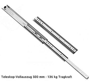 L/änge 600 mm 2 x Schwerlastauszug mit Arretierung im eingezogenen Zustand 600 mm L/änge 53 mm Hoch 136 kg Tragkraft Teleskopschienen Vollauszug