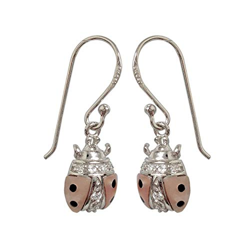 (925 Solid Sterling Silver CZ Ladybug Dangling Earrings – Dangle Animal Children,Kids & Women Jewelry )
