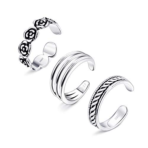 LOYALLOOK Toe Rings for Women Sterling Silver Toe Rings Stackable Rings Adjustable Open Toe Ring Gifts Jewelry Set 3Pcs Style3 ()