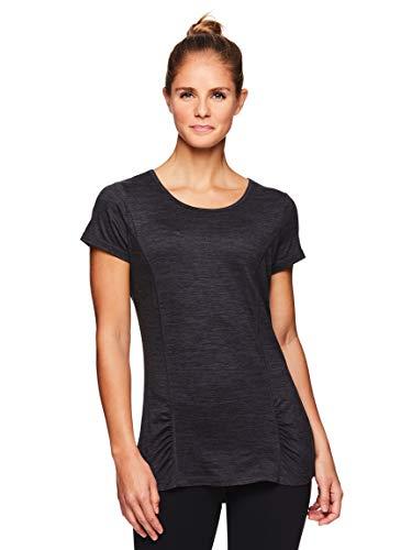 Gaiam Women's Open Back Yoga T Shirt - Short Sleeve Workout Exercise & Training Top - Energy Gaiam Asphalt Heather, Small