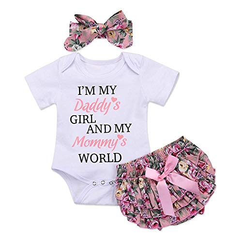 3pcs Newborn Baby Girls Outfits Daddy's Girl White Short Sleeve Romper Floral Bow reffles Shorts Bowknot Headband Outfits(Size 70,0-3month) -