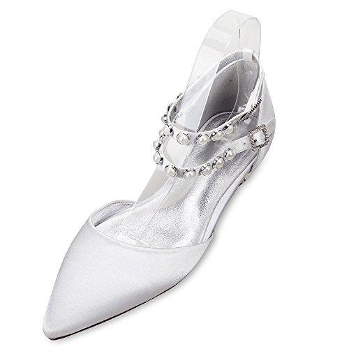 L@YC Zapatos de Boda de Las Mujeres 5047-11 Perlas Zapatos Planos Hebilla satén Noche Nupcial Fiesta Corte/personalización Silver