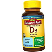 Extra Strength Vitamin D3 5000 IU (125 mcg), Dietary Supplement for Immune Support, 90 Softgels, 90 Day Supply .90 Count…