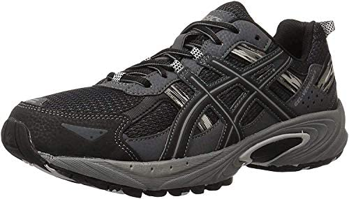 41Ci jXQt%2BL. AC ASICS Men's GEL Venture 5 Running Shoe    The GEL-Venture 5 provides great fit and everyday comfort, with Rearfoot GEL Cushioning and a rugged outsole ideal for a variety of terrains. ImportedRubber soleOutdoor-ready runner with mesh and brushstroke-patterned underlaysRearfoot GEL cushioningRemovable sockliner accommodates medical orthoticsTrail-specific outsole with reversed traction lugsAHAR outsole rubber in critical high-wear areas