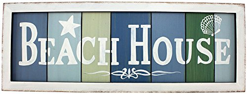 Beach House, Colors of the Sea Wood Slat Sign with White Washed Framed Look