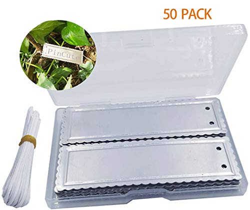 PinCute Aluminum Plant Labels, Metal Plant Tags, Tree ID Tags Durable & Waterproof Pot Label Tag Marker for Indoor Outdoor Gardening Nursery(50 Pack)